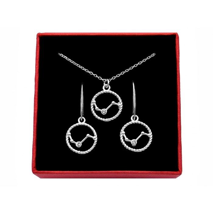 Srebrny komplet znak zodiaku gwiazdozbiór baran