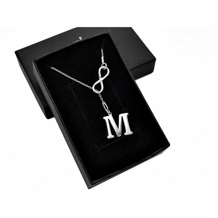 Srebrny naszyjnik Y krawat litera nieskończoność