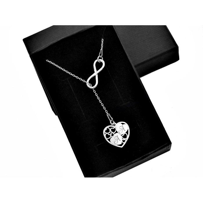 Srebrny naszyjnik serce łapa grawer + pudełko
