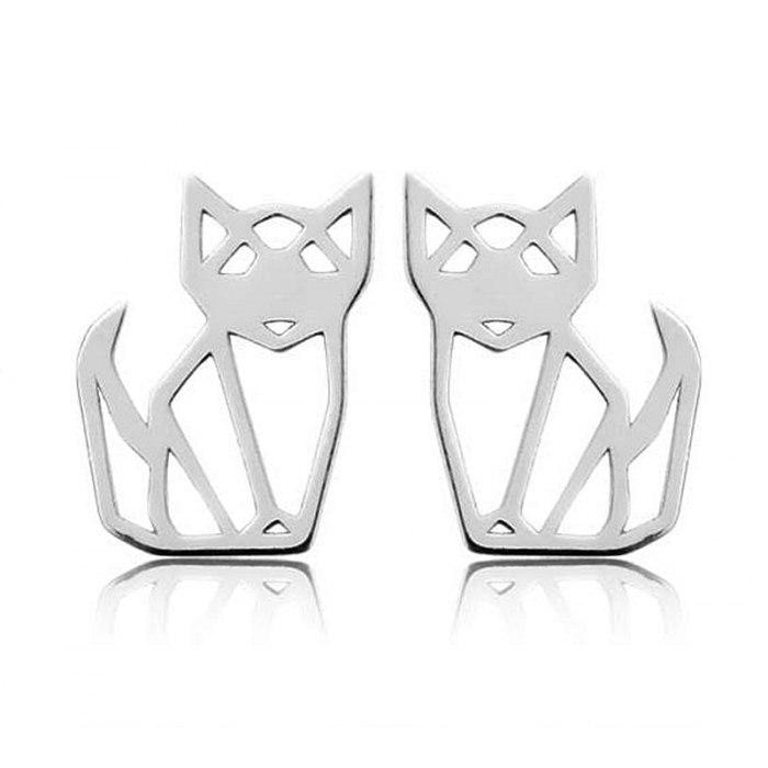 Srebrny komplet lisy koty origami + pudełko