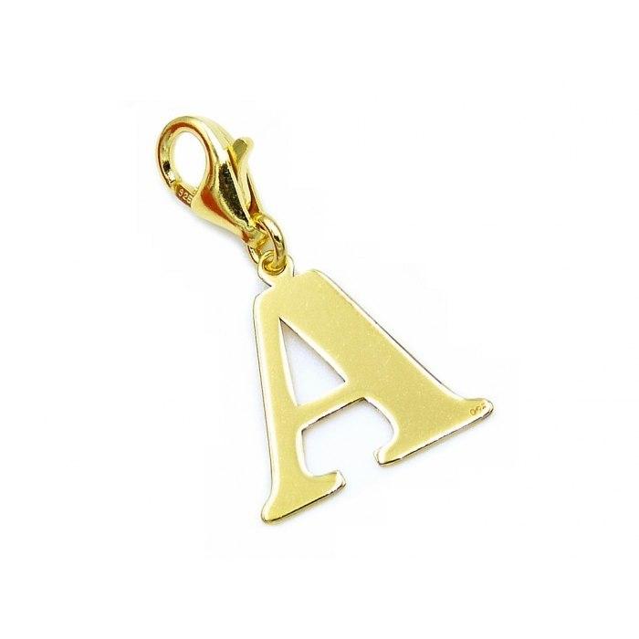 Pozłacany charms przywieszka literka A