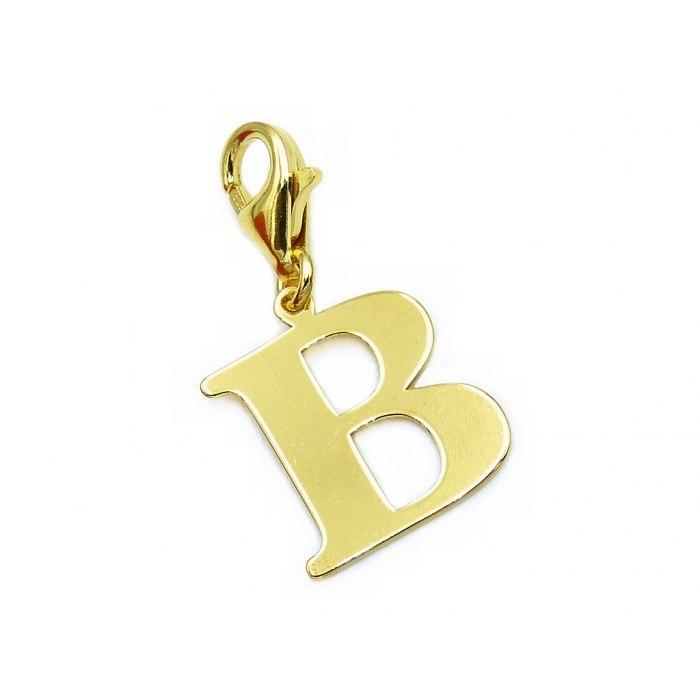 Pozłacany charms przywieszka literka B