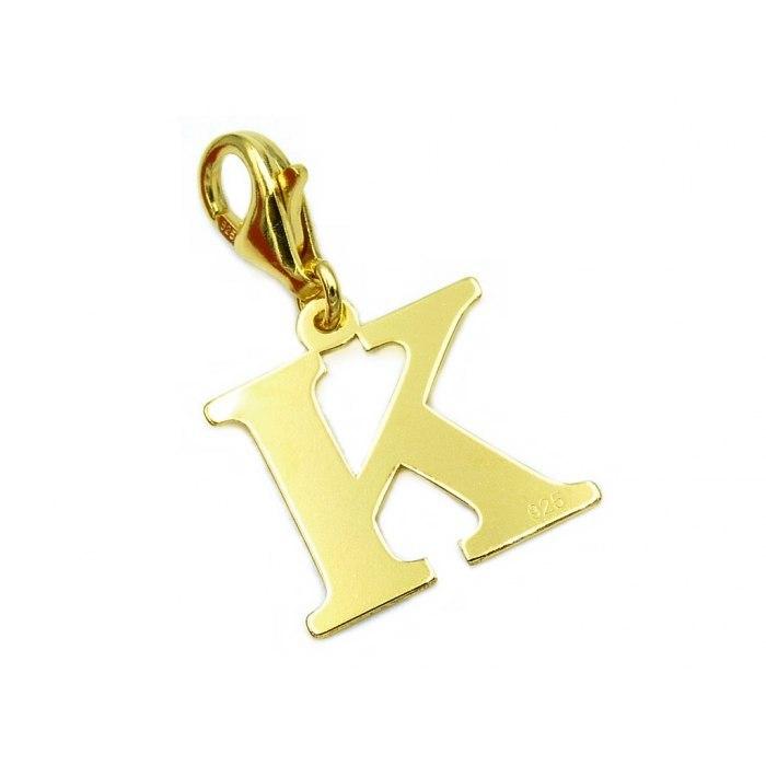 Pozłacany charms przywieszka literka K