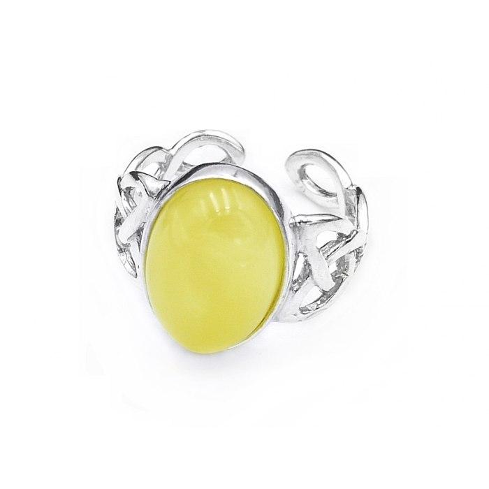 Srebrny pierścionek żółty bursztyn
