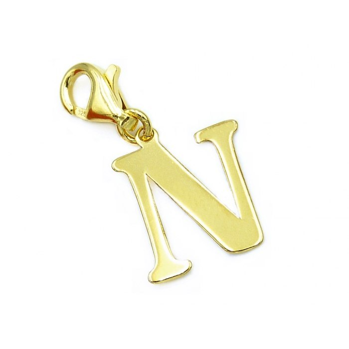 Pozłacany charms przywieszka literka N