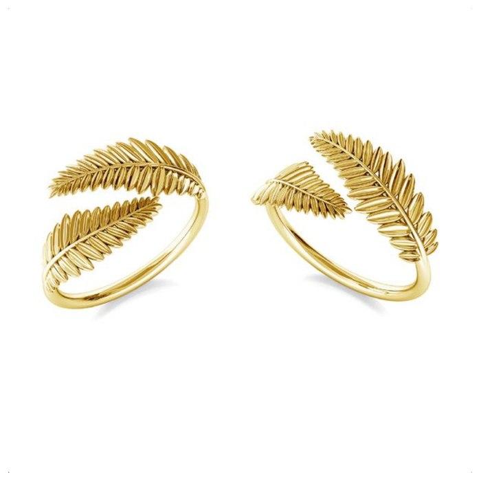 Pozłacany pierścionek knuckle ring galązki liście