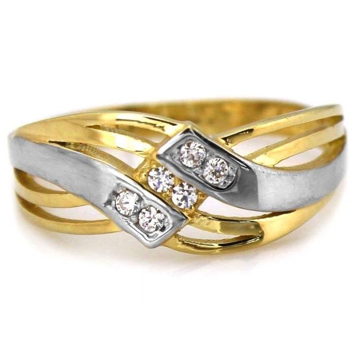 Efektowny złoty 333 pierścionek cyrkonie pudełko