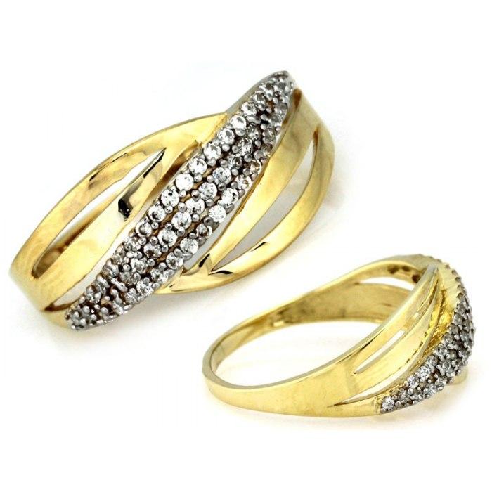 Złoty 333 pierścionek cyrkonie pudełko