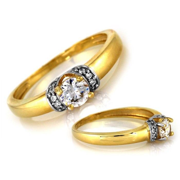 Złoty 333 zaręczynowy pierścionek z cyrkonią pudełko
