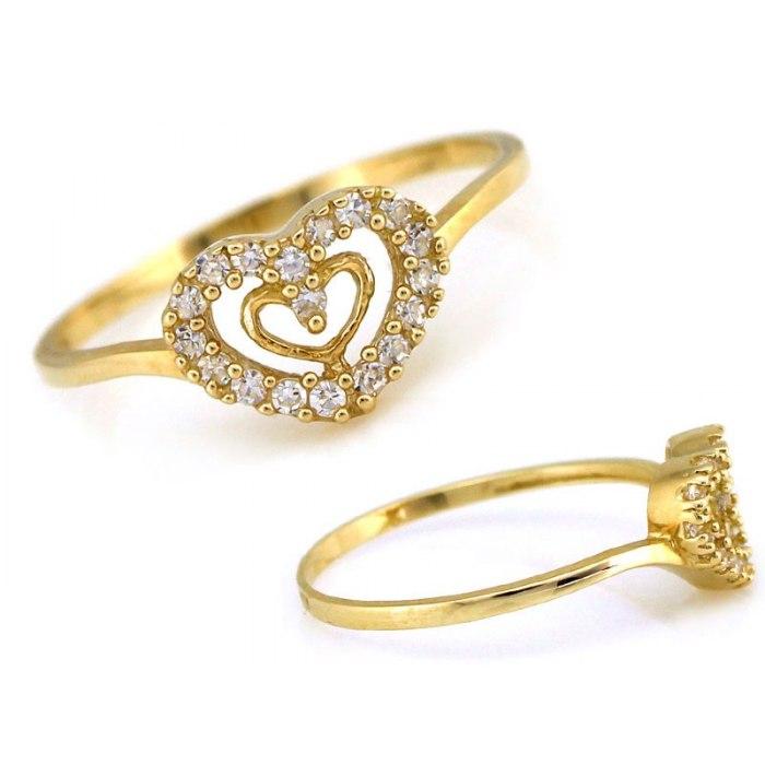 Złoty 333 zaręczynowy pierścionek serca + pudełko