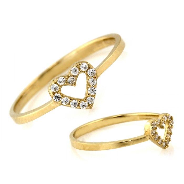 Złoty 585 zaręczynowy pierścionek serce pudełko