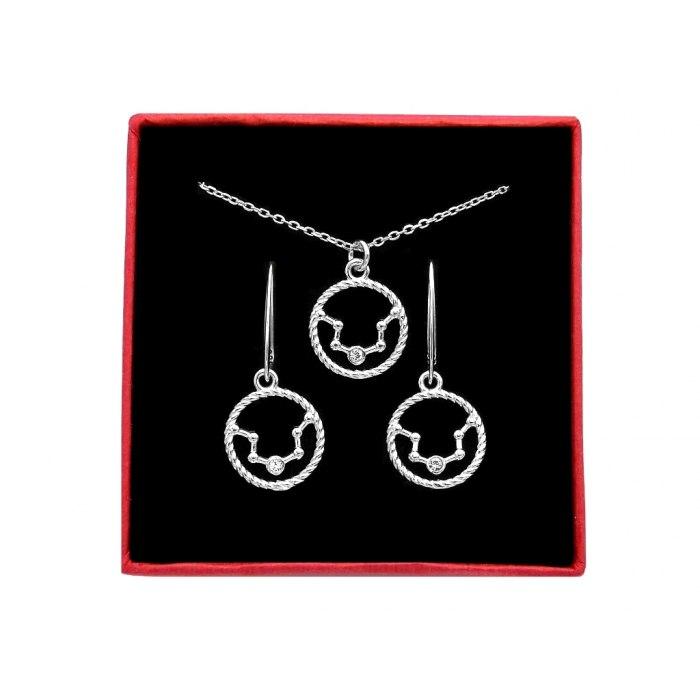 Srebrny komplet znak zodiaku gwiazdozbiór wodnik