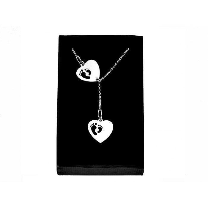 Srebrny naszyjnik Y serce stopy grawer + pudełko