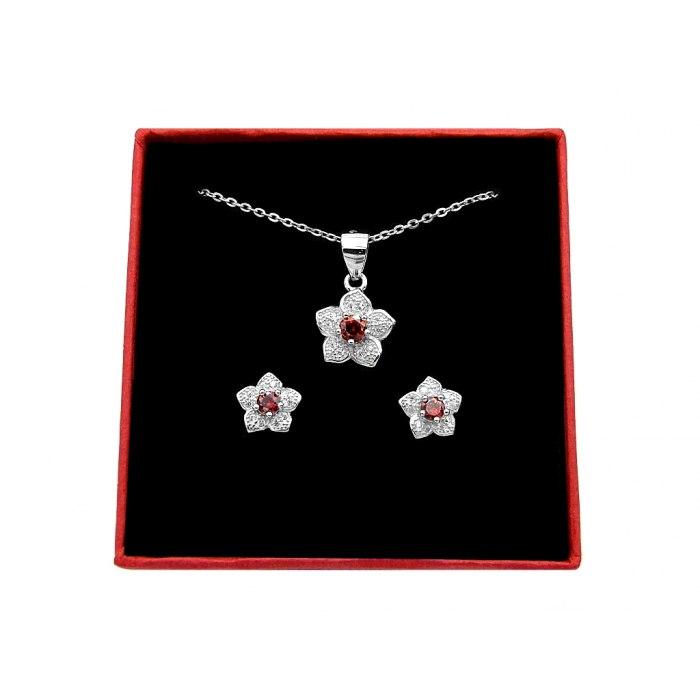 Srebrny komplet kwiaty kwiatuszki + pudełko