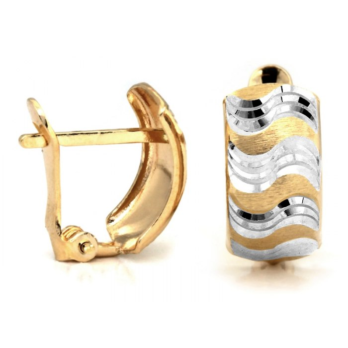 Zdobione złote kolczyki 585 dwukolorowe fale