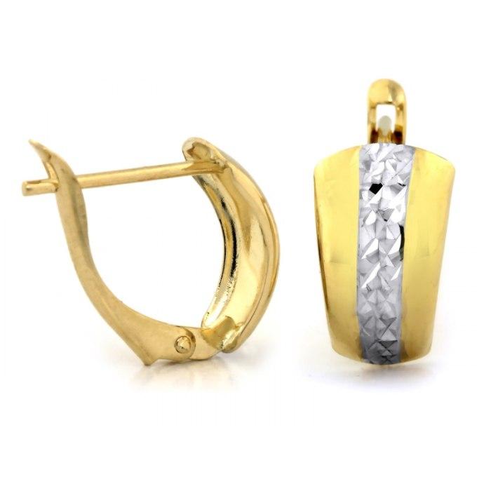 Grube złote kolczyki 585 diamentowane