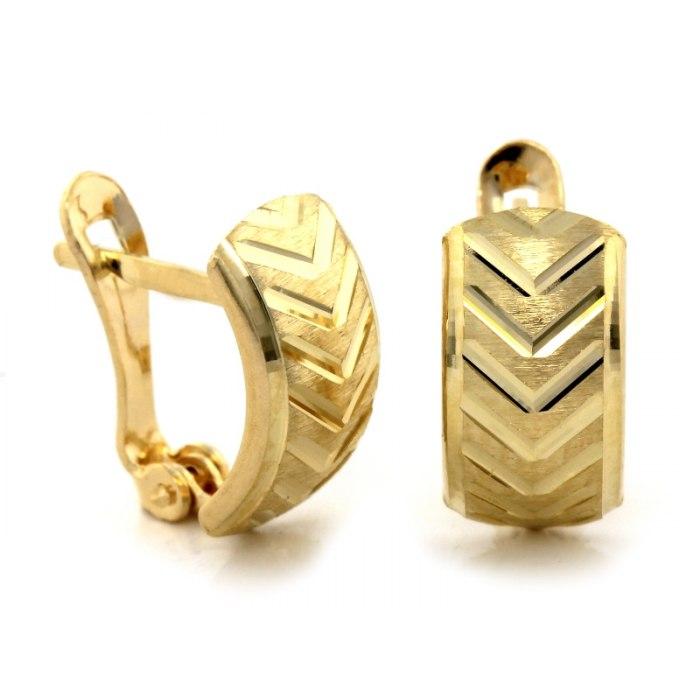 Diamentowane złote kolczyki 585 jodełka