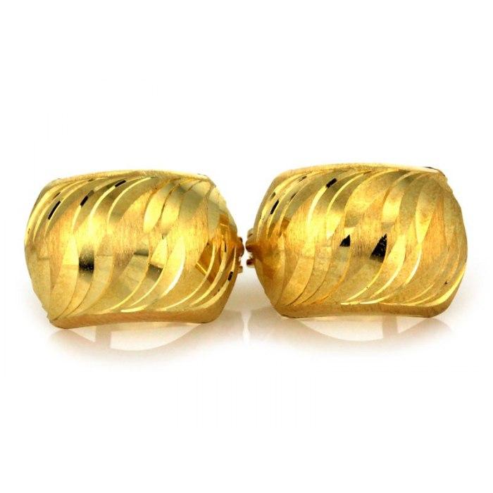 Duże złote kolczyki 585 diamentowane fala