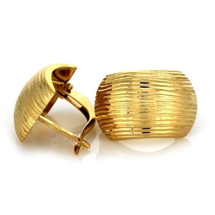 Duże złote kolczyki 333 diamentowane zaokrąglone