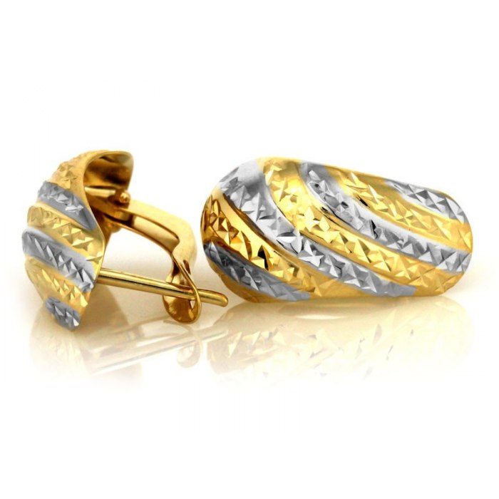Złote kolczyki 333 diamentowane zaokrąglone