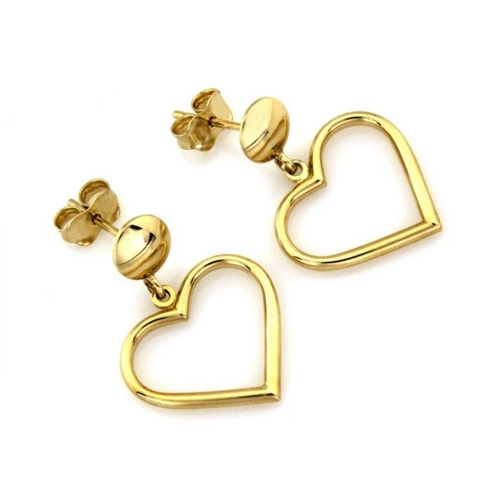 Złote kolczyki 333 wkręty serca