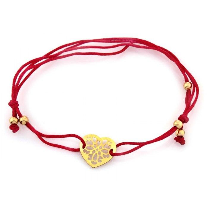 Złota 585 czerwona sznurkowa bransoletka serce kulki