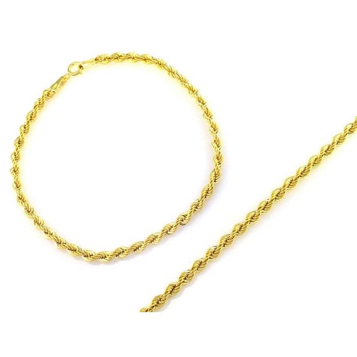 Złota 585 skręcana bransoletka Korda