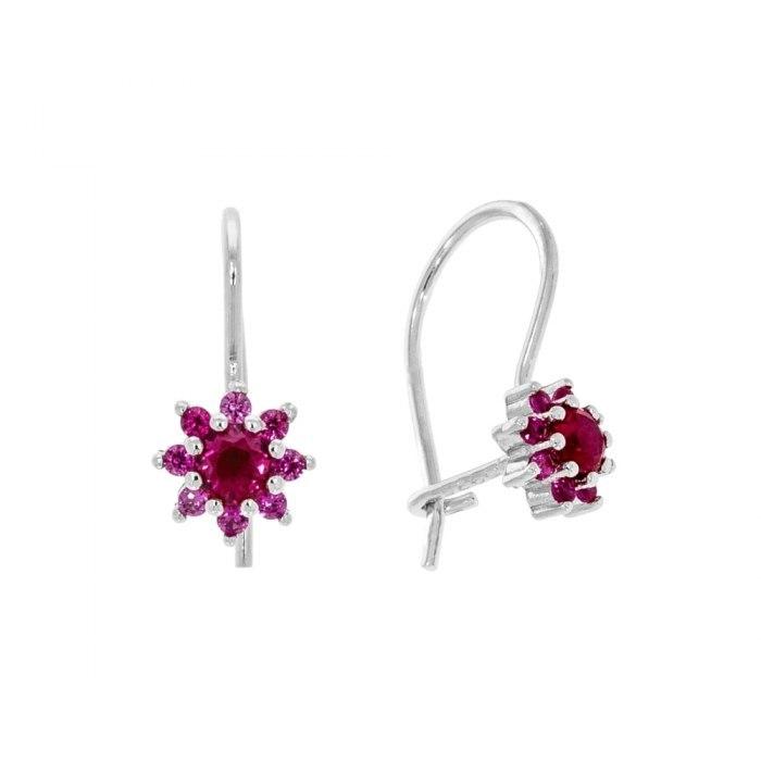 Srebrne kolczyki kwiatuszki różowa cyrkonia