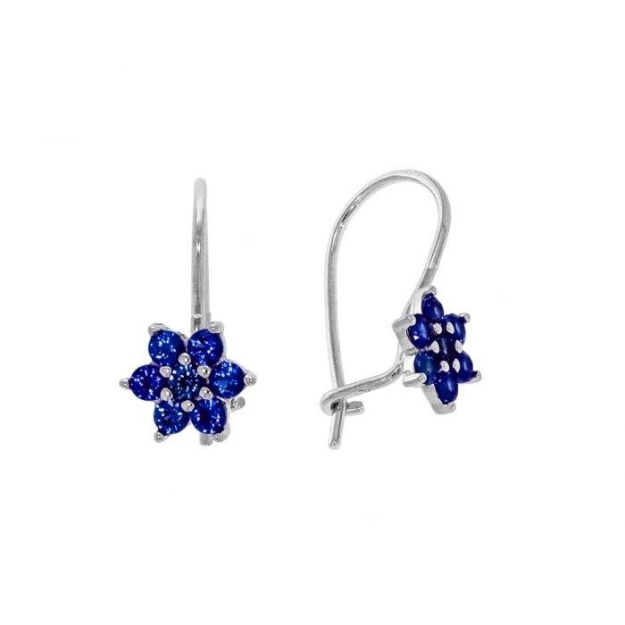Srebrne kolczyki kwiatuszki błękitne cyrkonie