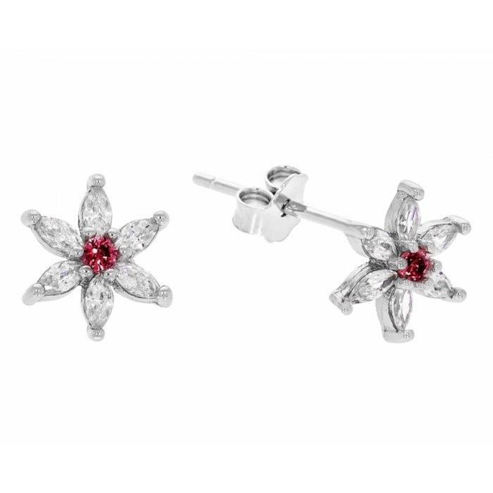 Srebrne kolczyki kwiatuszki  kwiatek czerwone