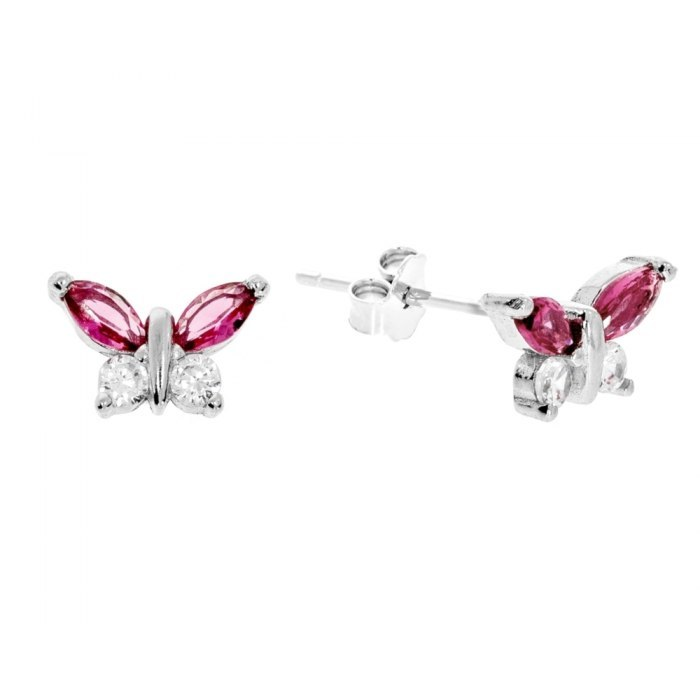 Srebrne kolczyki rubinowe motylki z cyrkonią