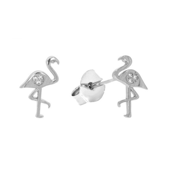 Srebrne kolczyki flamingi z cyrkoniami 2