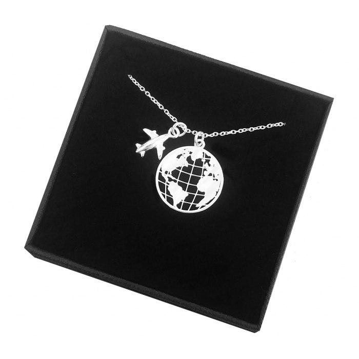 Srebrny naszyjnik kula ziemska globus samolot