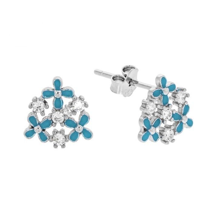 Srebrne kolczyki niebieskie kwiatki z cyrkoniami