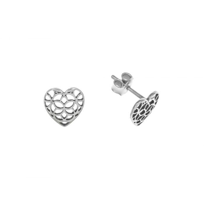 Srebrne srebro kolczyki ażurowe serca