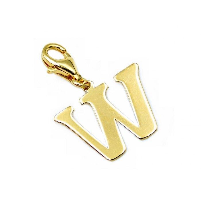 Pozłacany charms przywieszka literka W