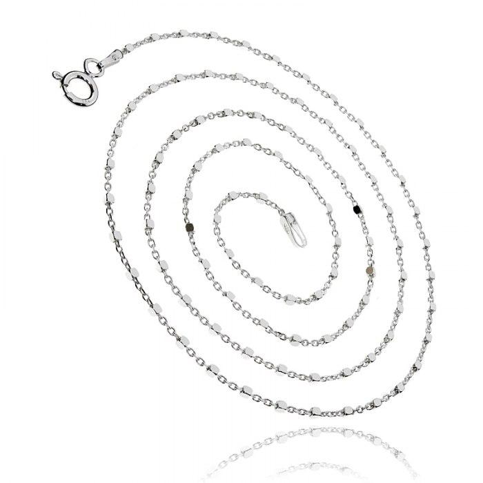 Srebrny łańcuszek Ankier kosteczki kostki 50 cm