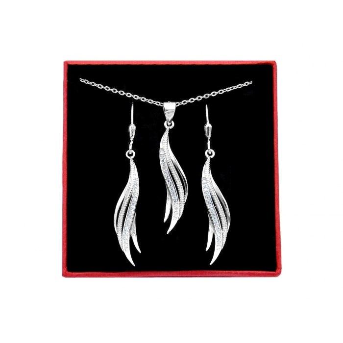 Elegancki srebrny komplet z cyrkoniami + pudełko