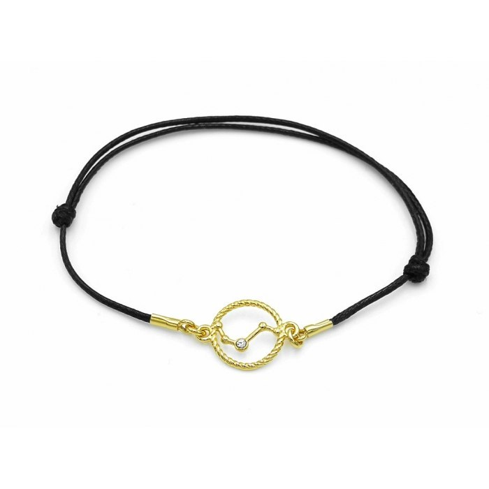 Pozłacana sznurkowa bransoletka znaki zodiaku