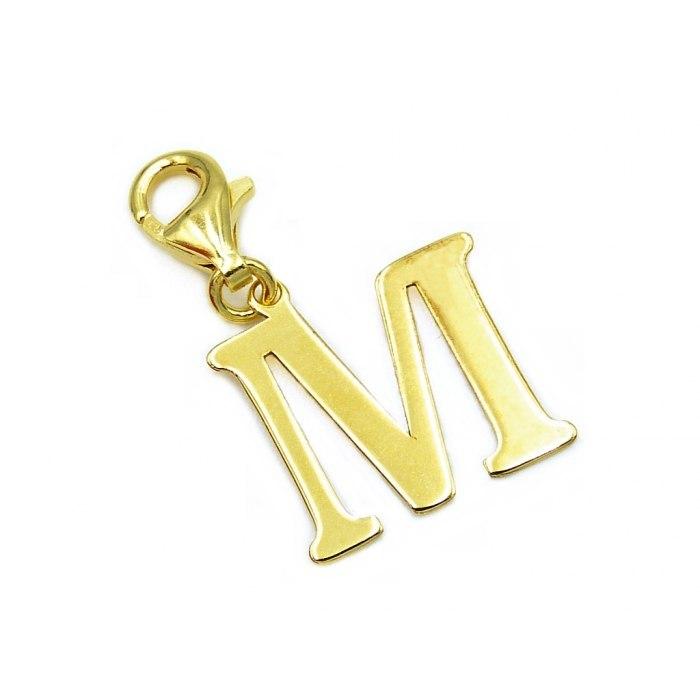 Pozłacany charms przywieszka literka M