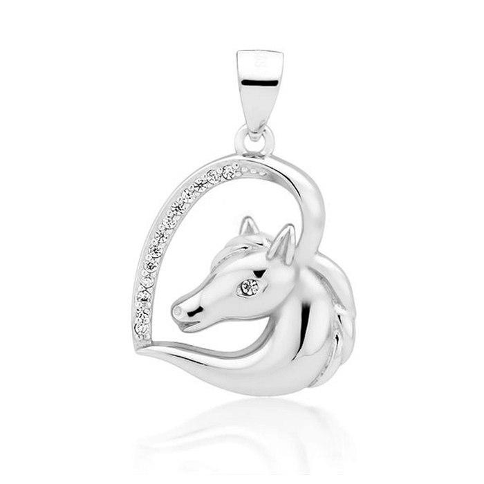 Srebrny wisiorek serce z koniem konik crystal