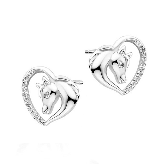 Srebrny komplet koniki konie serce cyrkonia