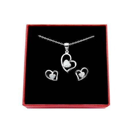 Srebrny komplet podwójne serce cyrkonia 3