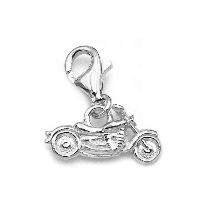 Srebrny charms przywieszka motor chopper