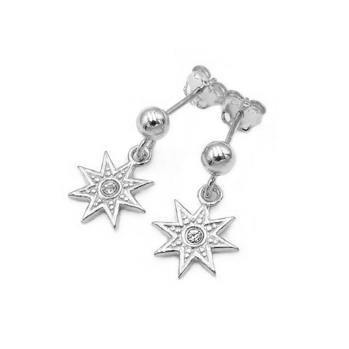 Srebrne kolczyki gwiazdki z cyrkonią