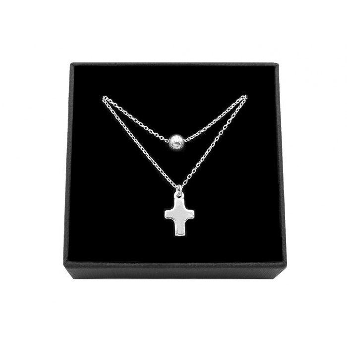 Srebrny podwójny naszyjnik krzyż + pudełko