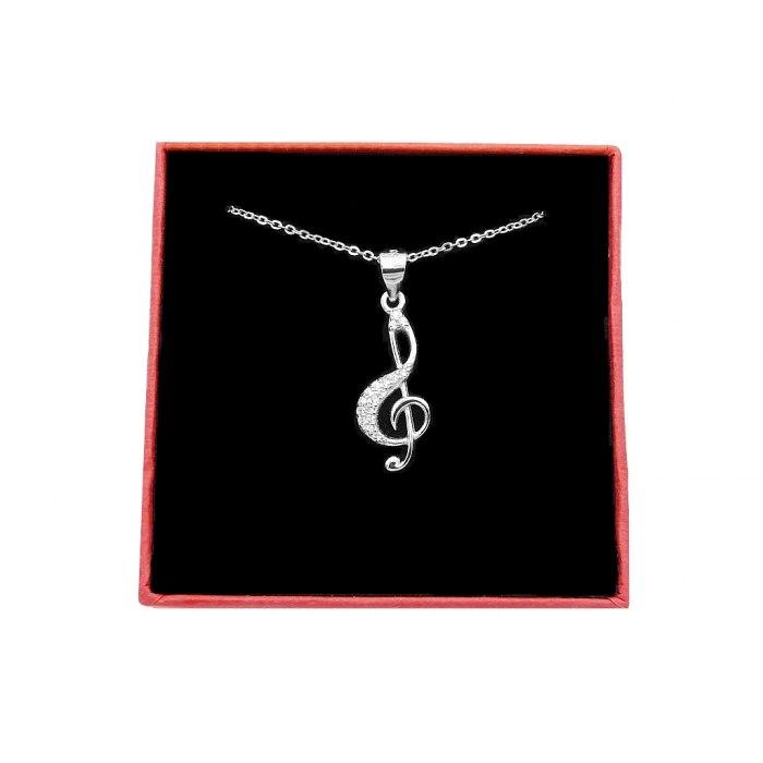 Srebrny naszyjnik klucz wiolinowy cyrkonie 2 + pudełko