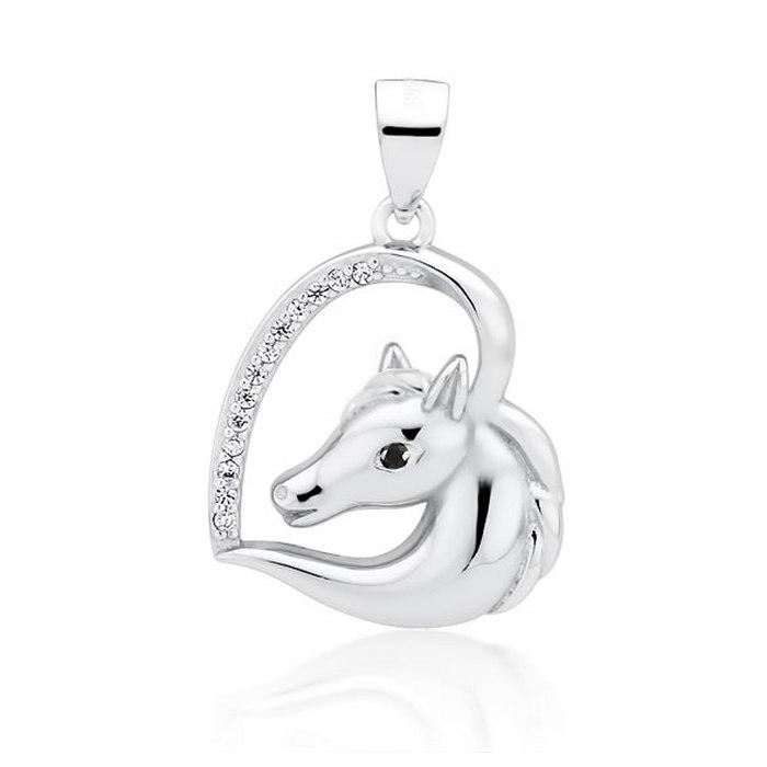 Srebrny wisiorek serce z koniem konik czarne oko