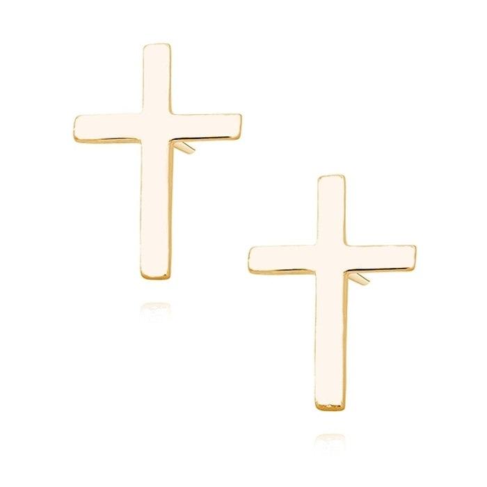 Pozłacane kolczyki krzyże krzyż