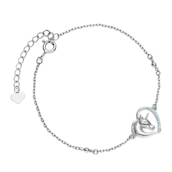 Srebrna bransoletka serce jednorożec aqua